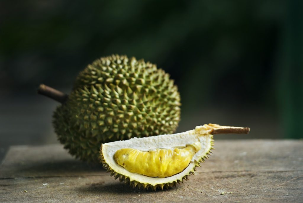 yellow durian on table
