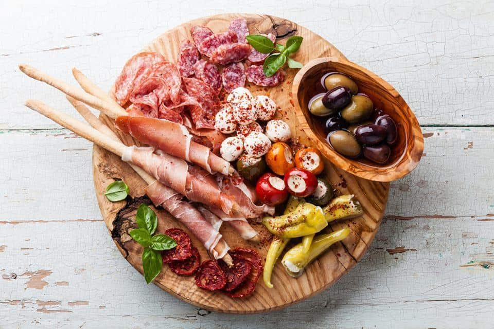 Mediterranean meat and cheese board