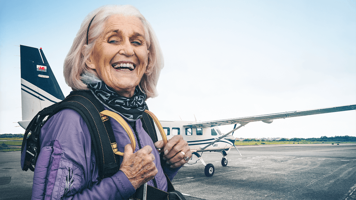 86-year-old Dilys jumps out of planes for fun