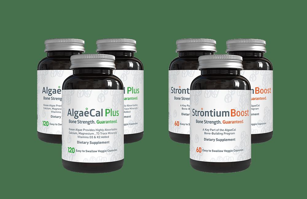 Bone builder pack - 4 AlgaeCal Plus and 3 Strontium Boost