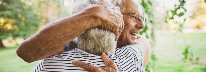 Senior couple in happy embrace