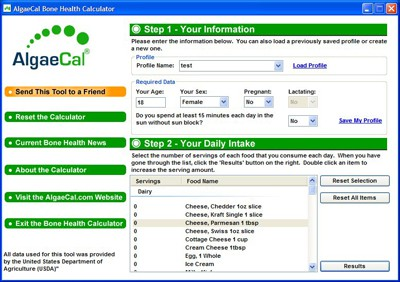 Bone Health Calculator Software Image