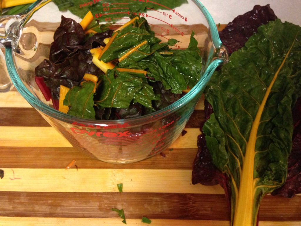 Chopped swiss chard for tomato soup to treat Irritable Bowel Syndrome