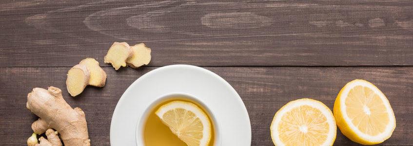 Ginger tea with lemon slices