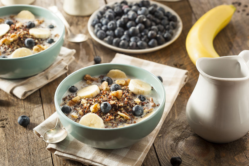 Organic high fiber breakfast quinoa blueberry banana