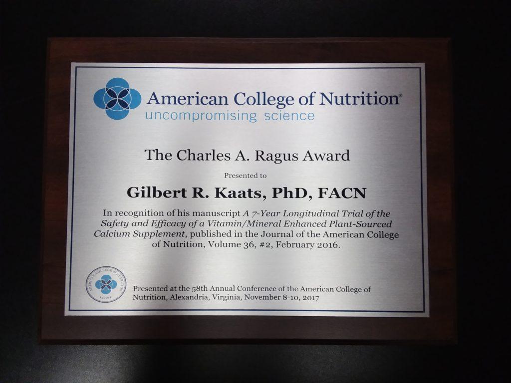 Ragus Award Certificate