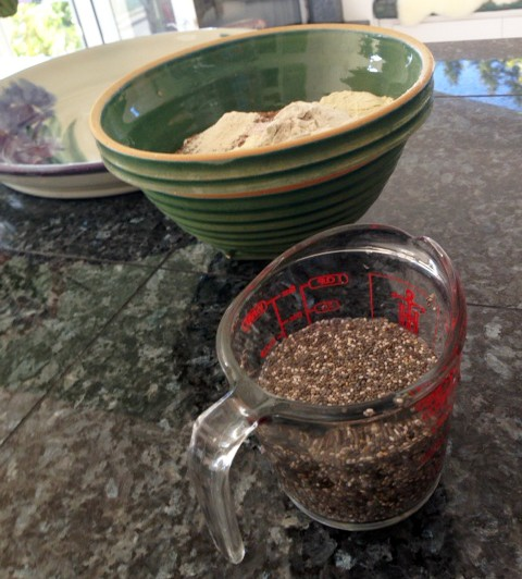 Chia seeds soaking in 1/2 cup water