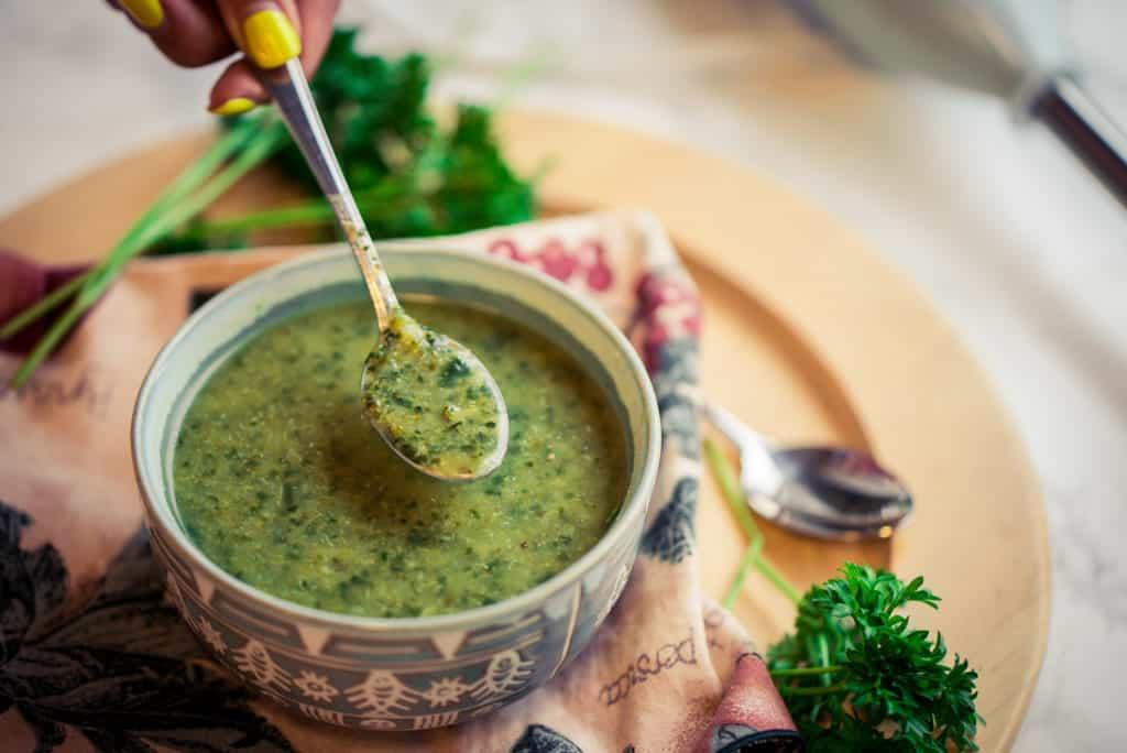 Broccoli Spinach Soup with spoon