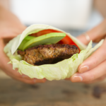 Turkey burger on a lettuce wrap