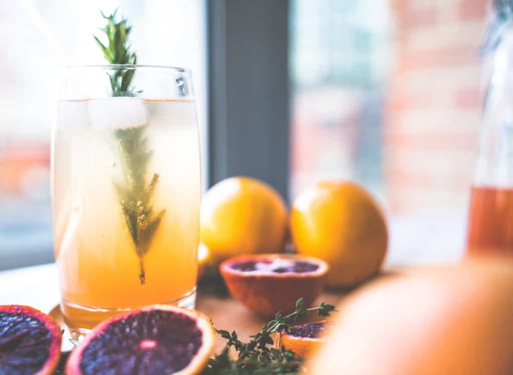 citrus ginger shrub with blood oranges