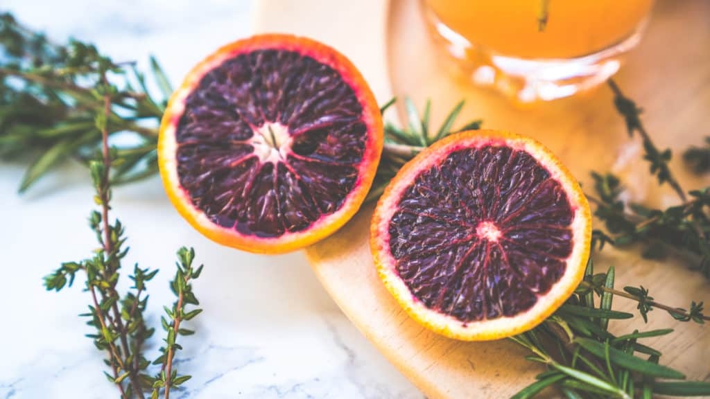 blood oranges close up