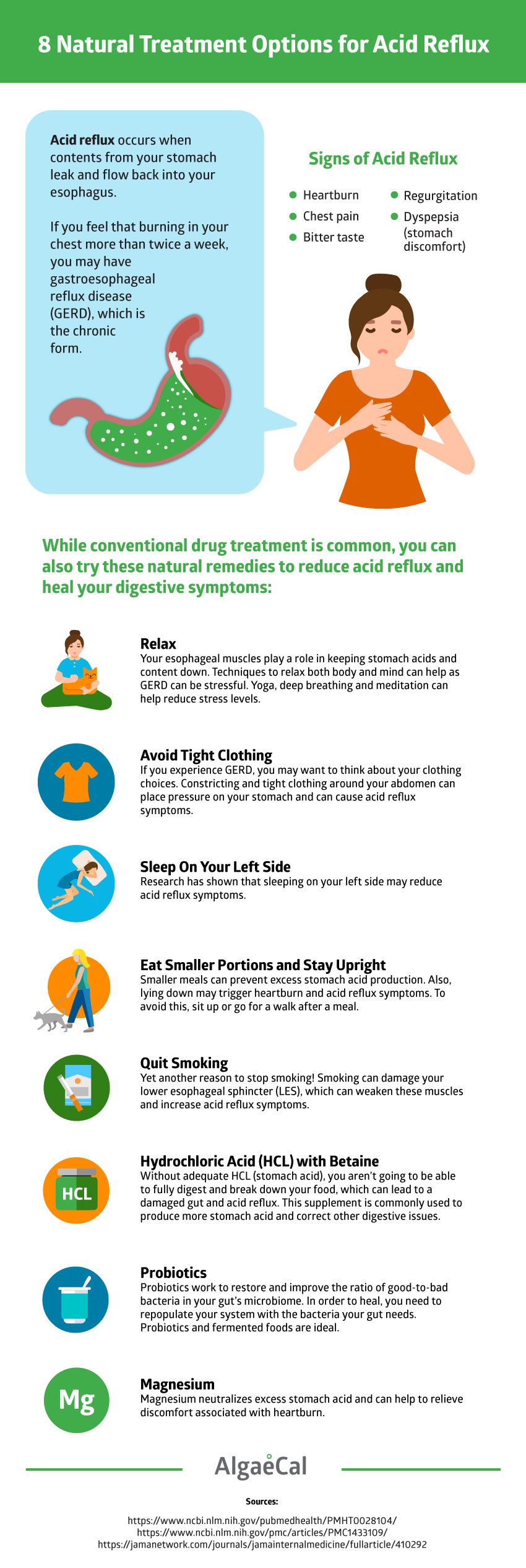 8 Natural Acid Reflux Treatment Options Infographic