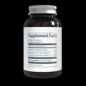 AlgaeCal Basic Label (Reverse side of bottle)