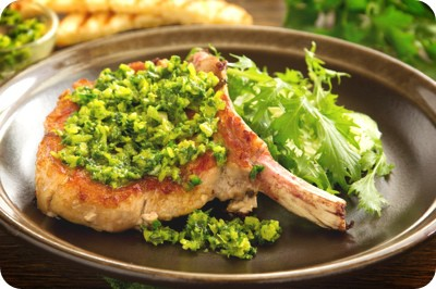 natural cutlet on the bone with gremolatoy.