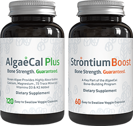 AlgaeCal Plus and Strontium Boost bottles side by side