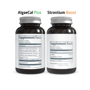 AlgaeCal Plus and Strontium Boost bottles Supplement Facts side by side