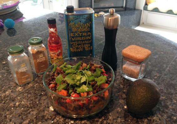 Black Beans with Veggies and Cilantro