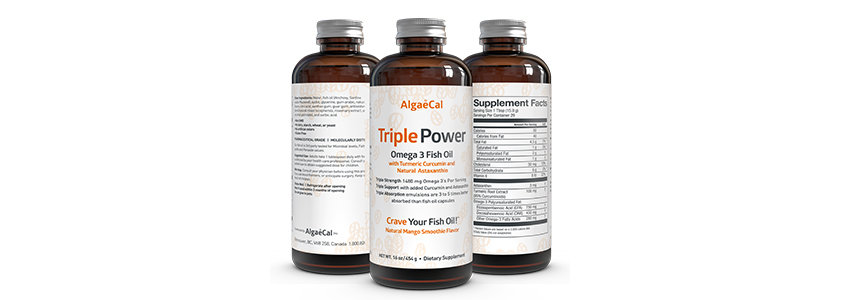 Triple Power Omega 3 Fish Oil bottles front and back