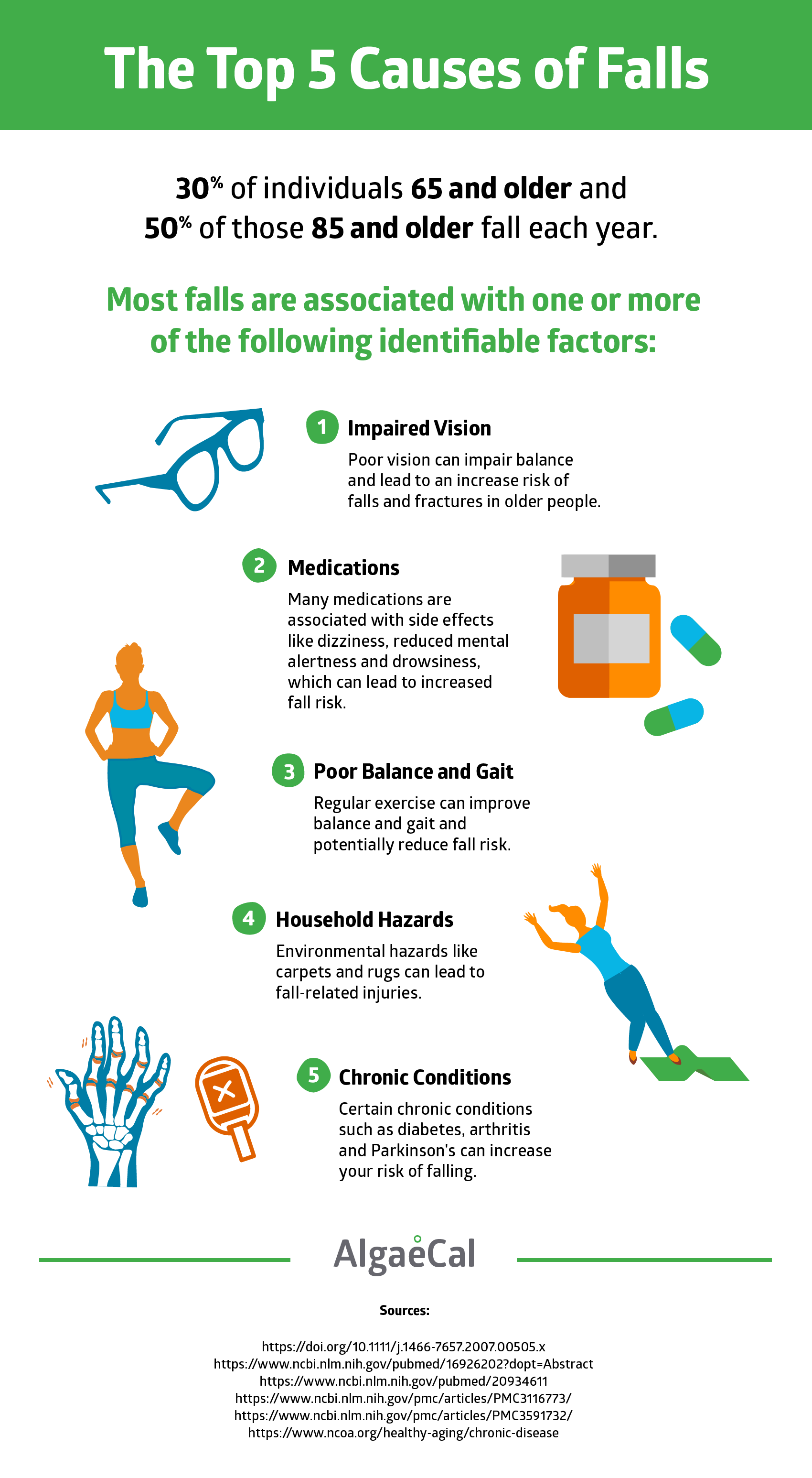 Top 5 Causes of Falls infographic
