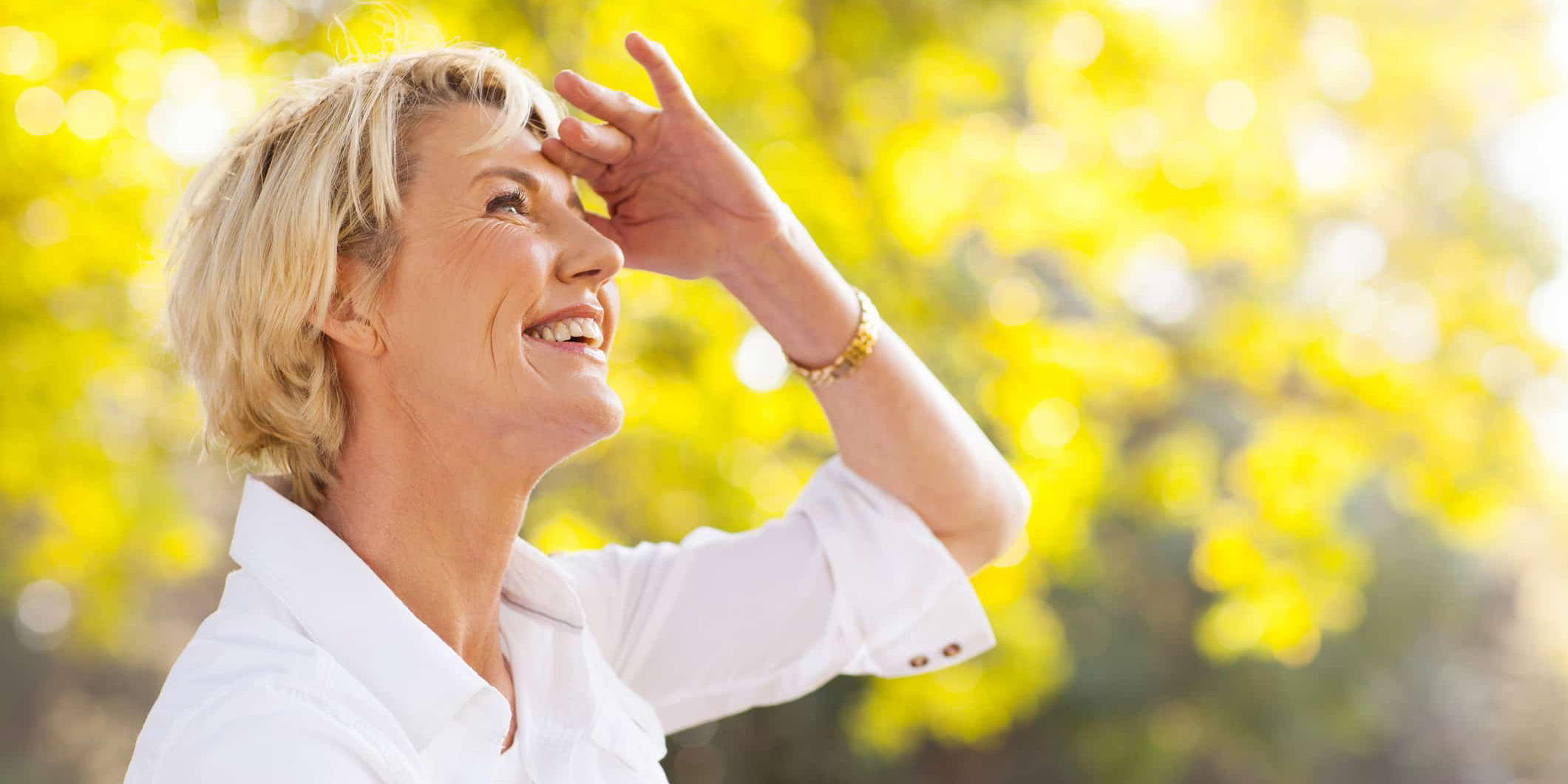 woman looking up to menopause