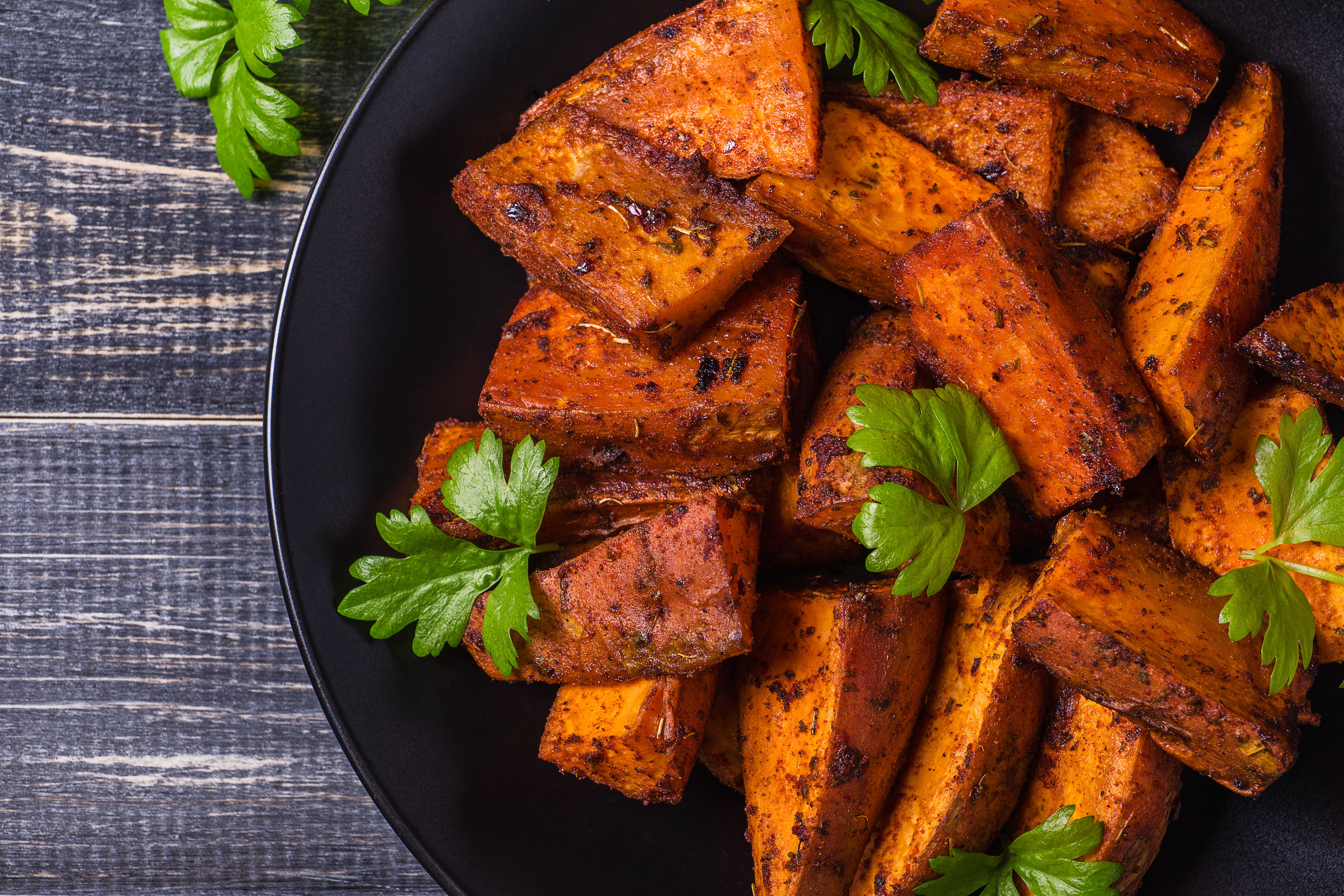 Sweet potato chunks with spices