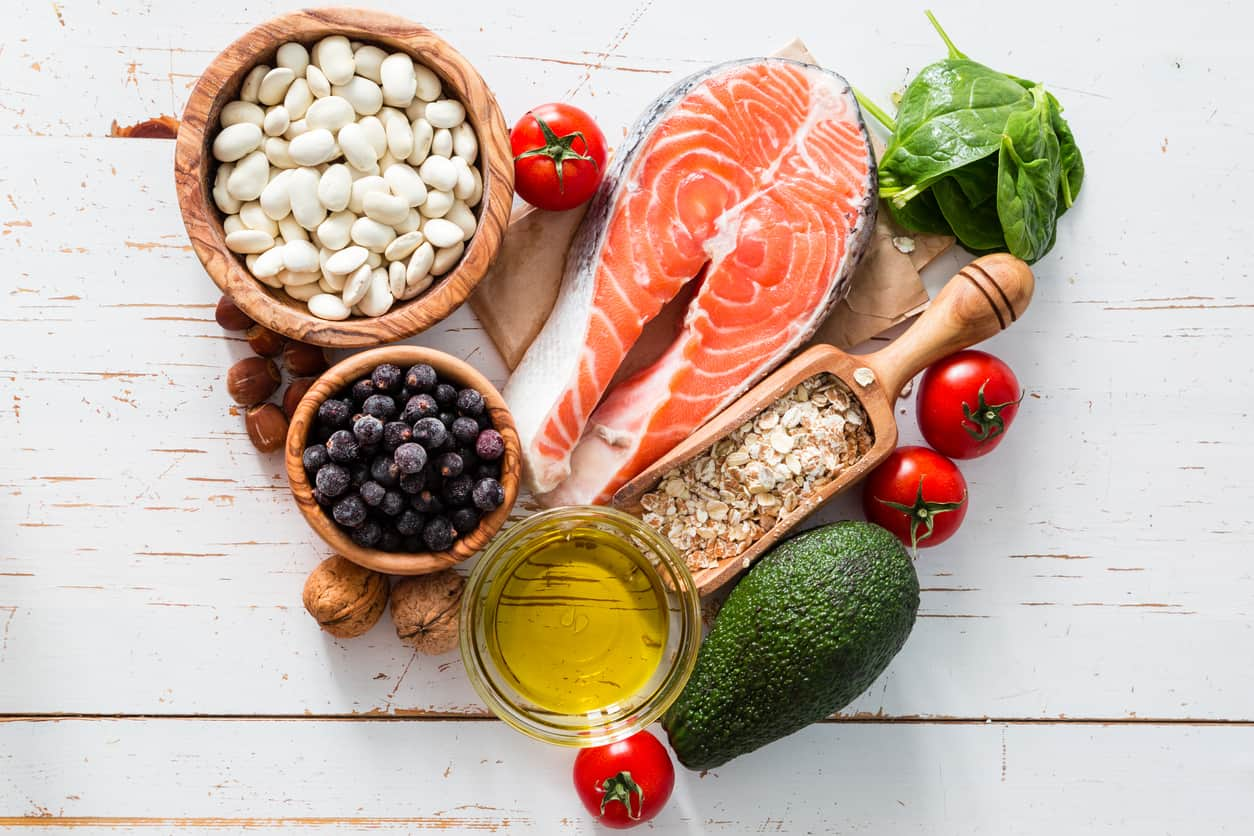 foods with healthy fats, salmon, avocdao