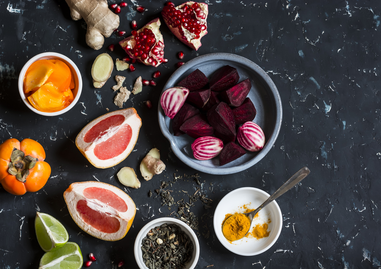 Ingredients for cooking beet and ginger detox elixir.