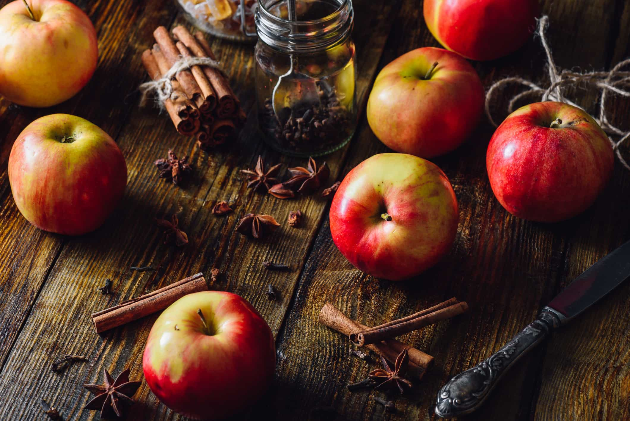 Apples with Clove, Cinnamon and Anise Star.