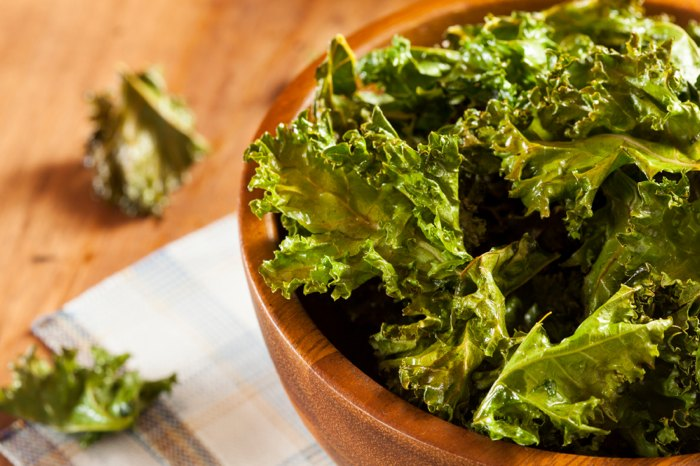 Homemade Organic Green Kale Chips with salt and oil