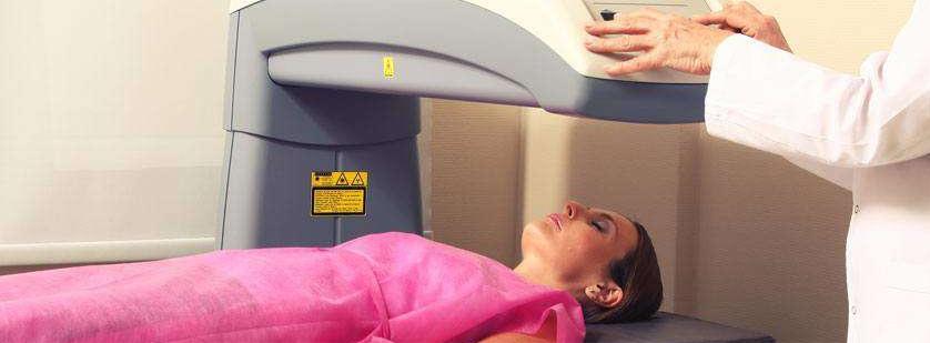 Woman receiving a DEXA Scan