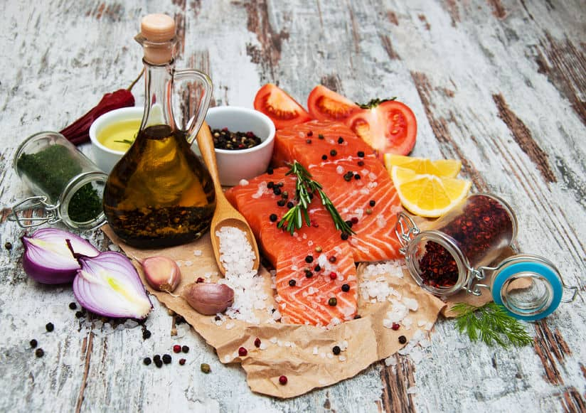 Salmon with olive oil and herbs