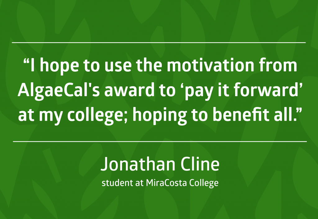 Quote from scholarship winner Jonathan Cline