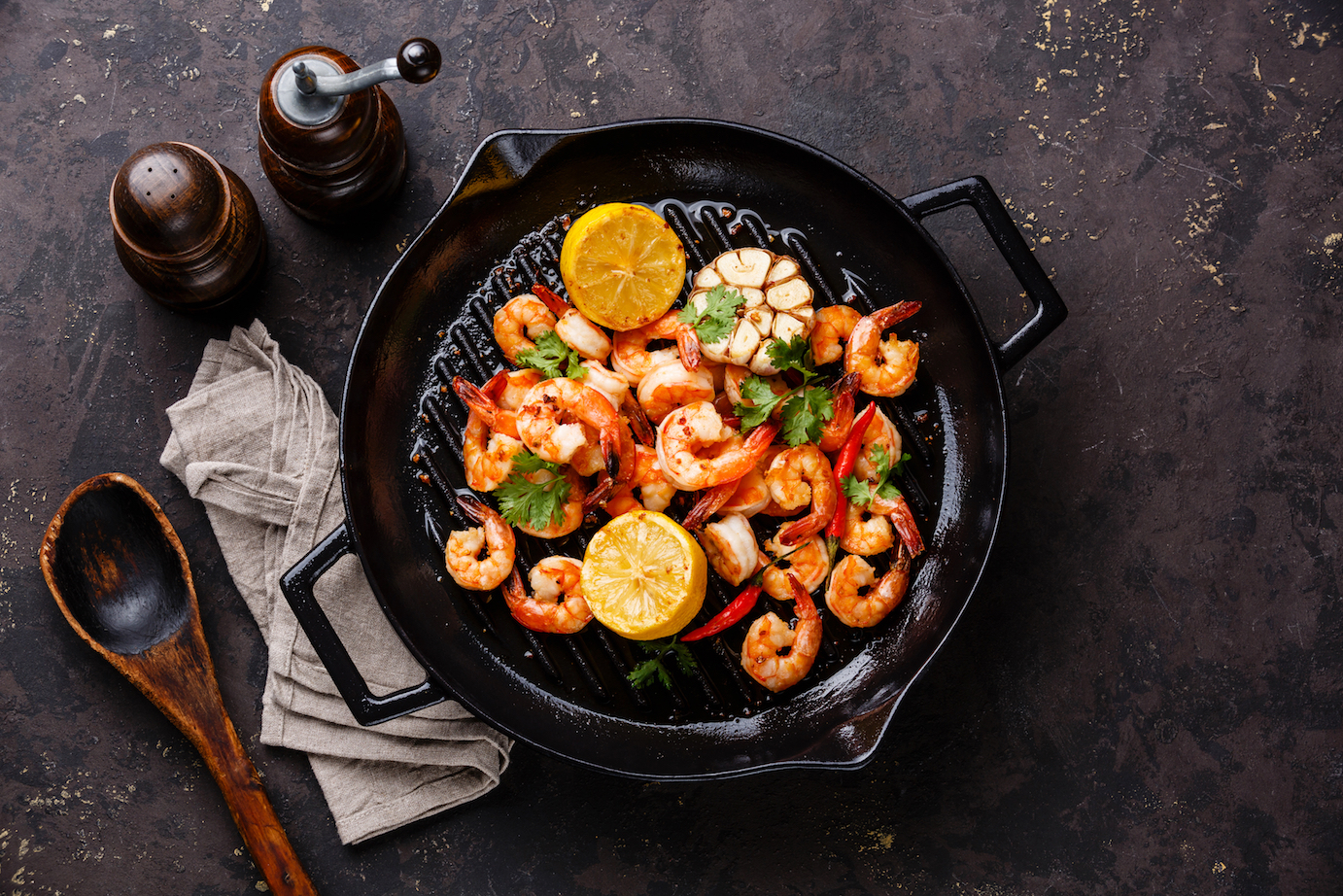 shrimp in a skillet (