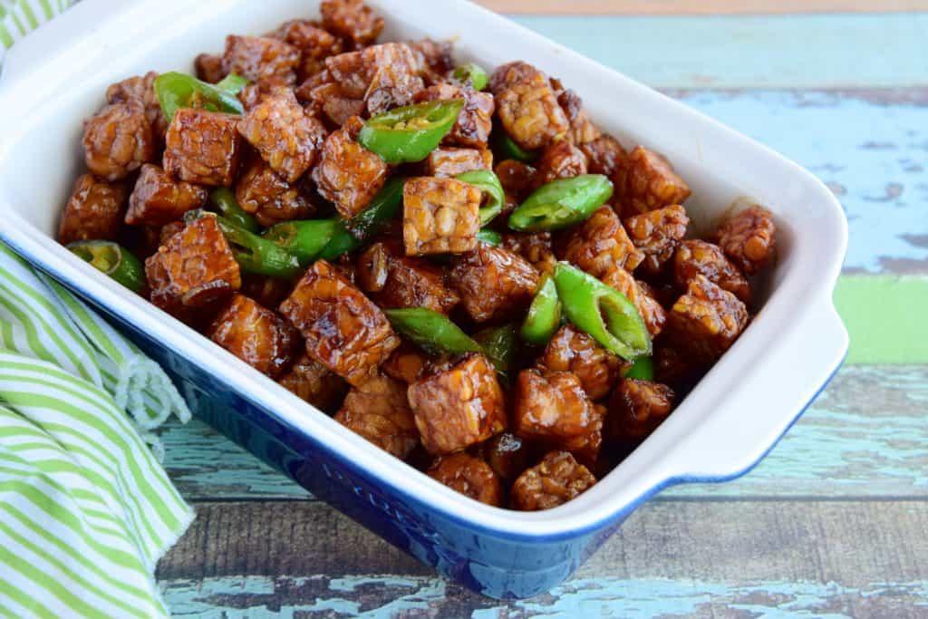 seasoned tempeh dish
