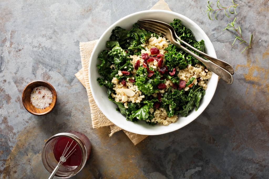 Kale Salad with cranberries and dressing