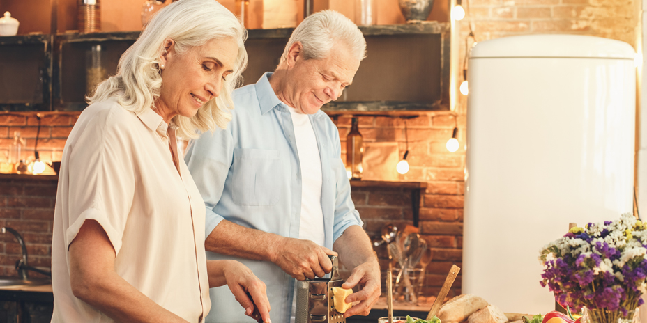 Calcium uses, effects - older couple making bone healthy food