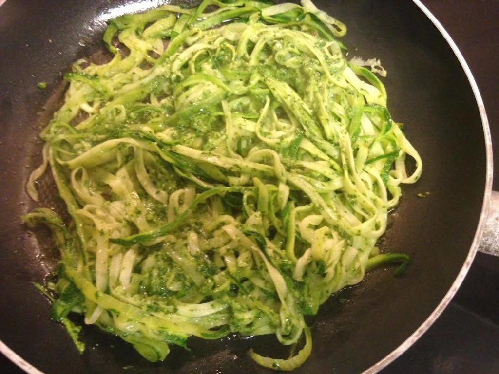 Zucchini and Pesto Noodles Saute in Pan