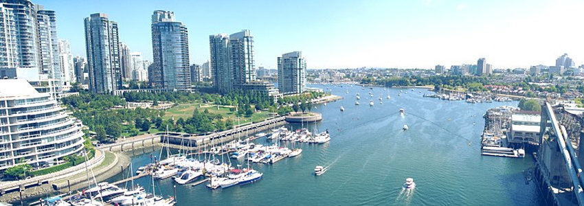 Boats along False Creek, Vancouver